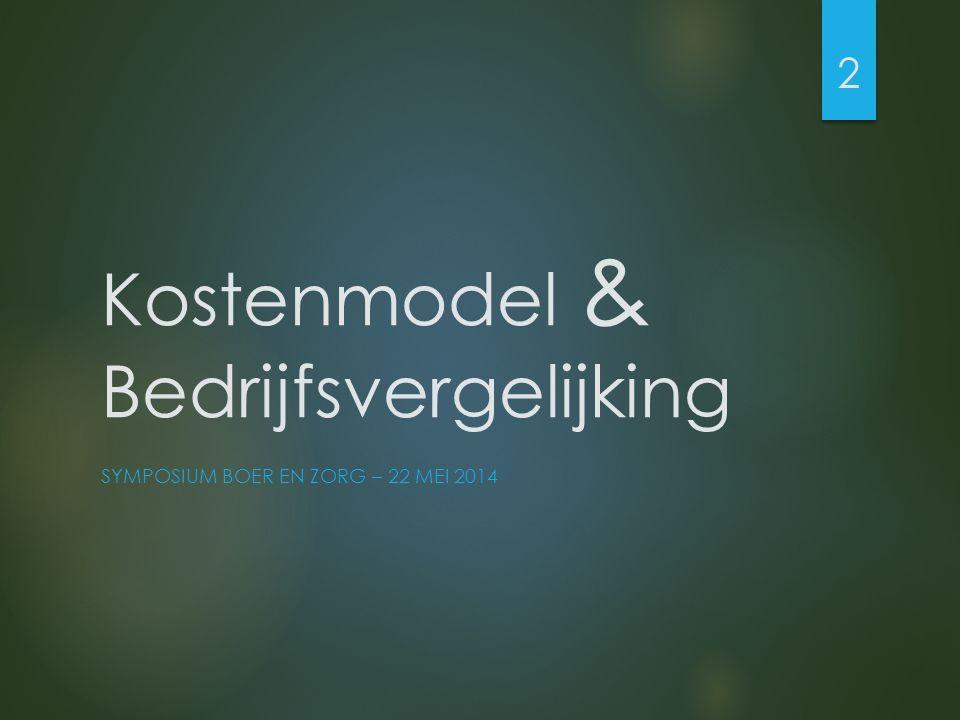 Kostenmodel & Bedrijfsvergelijking SYMPOSIUM BOER EN ZORG – 22 MEI 2014 2