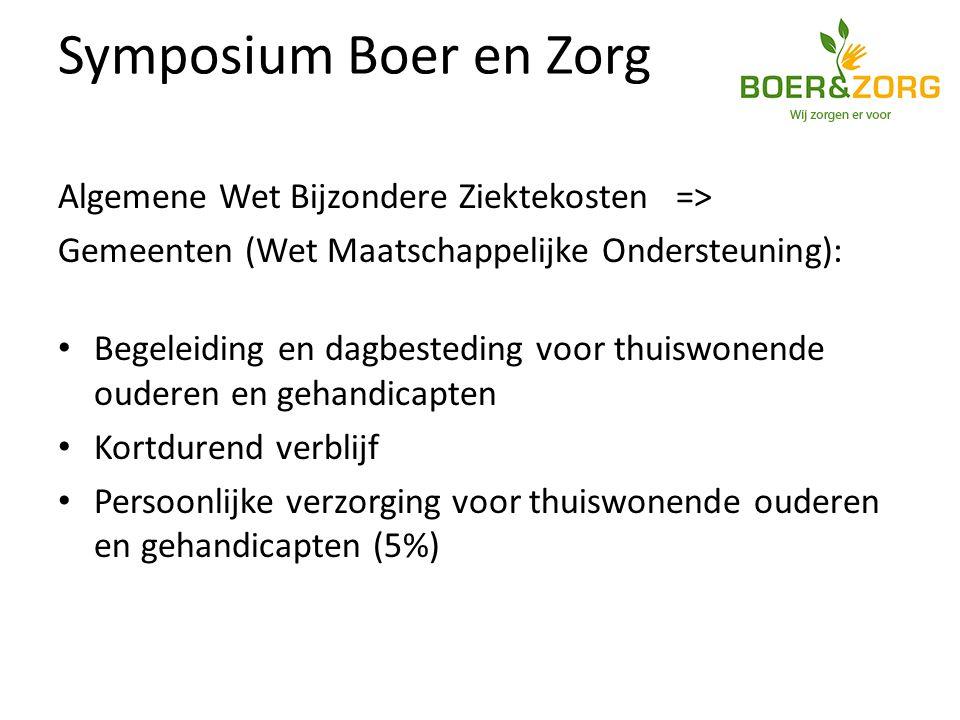 Symposium Boer en Zorg Algemene Wet Bijzondere Ziektekosten => Gemeenten (Wet Maatschappelijke Ondersteuning): Begeleiding en dagbesteding voor thuiswonende ouderen en gehandicapten Kortdurend verblijf Persoonlijke verzorging voor thuiswonende ouderen en gehandicapten (5%)