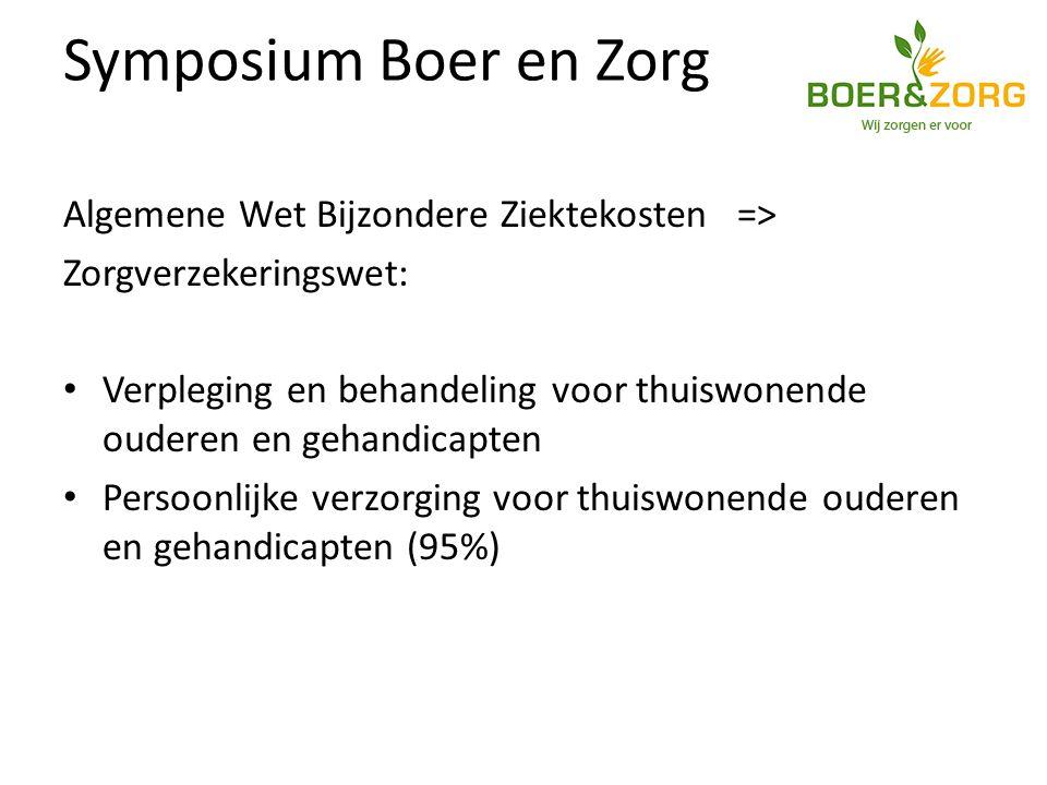 Symposium Boer en Zorg Algemene Wet Bijzondere Ziektekosten => Zorgverzekeringswet: Verpleging en behandeling voor thuiswonende ouderen en gehandicapten Persoonlijke verzorging voor thuiswonende ouderen en gehandicapten (95%)