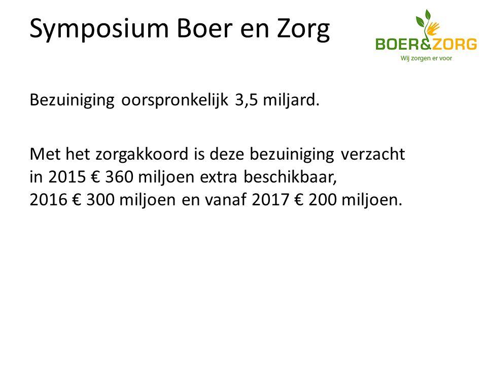 Symposium Boer en Zorg Bezuiniging oorspronkelijk 3,5 miljard.