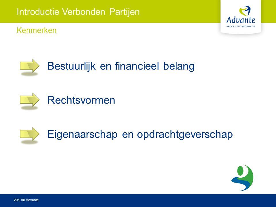2013 © Advante Introductie Verbonden Partijen Kenmerken Bestuurlijk en financieel belang Rechtsvormen Eigenaarschap en opdrachtgeverschap