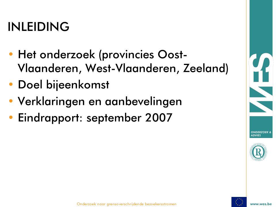  Onderzoek naar grensoverschrijdende bezoekersstromen INLEIDING Het onderzoek (provincies Oost- Vlaanderen, West-Vlaanderen, Zeeland) Doel bijeenkomst Verklaringen en aanbevelingen Eindrapport: september 2007