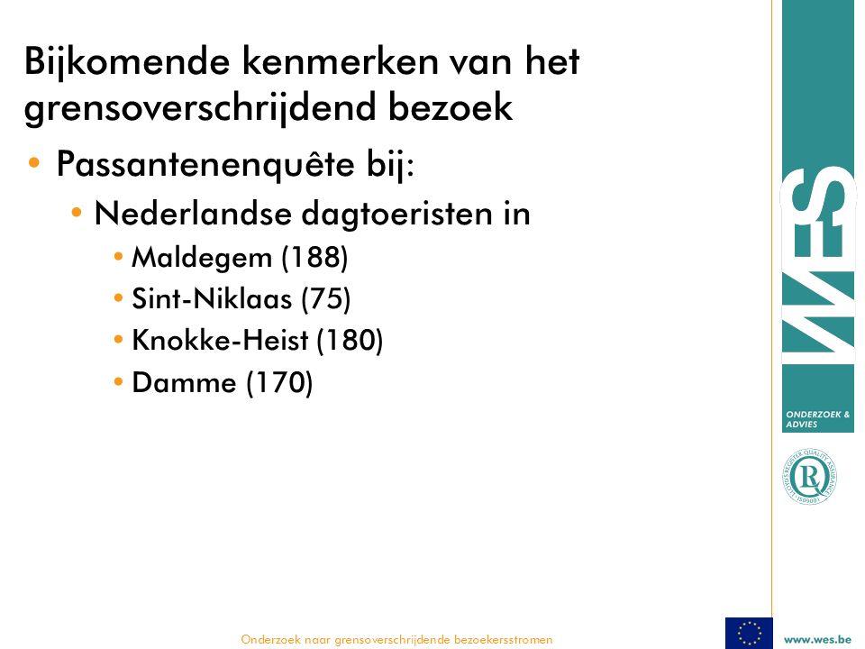  Onderzoek naar grensoverschrijdende bezoekersstromen Bijkomende kenmerken van het grensoverschrijdend bezoek Passantenenquête bij: Nederlandse dagtoeristen in Maldegem (188) Sint-Niklaas (75) Knokke-Heist (180) Damme (170)