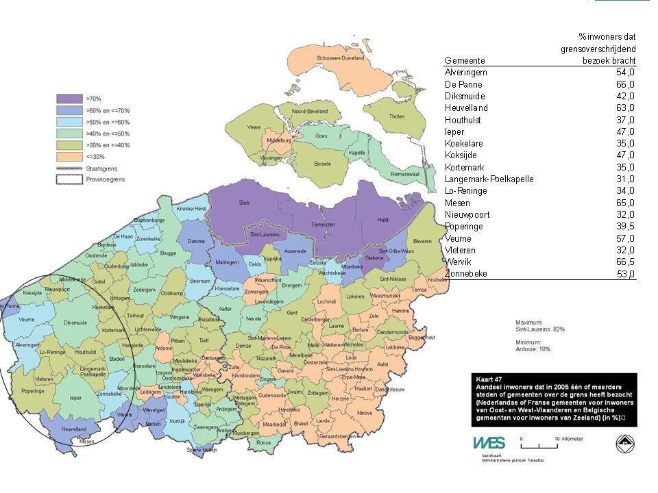  Onderzoek naar grensoverschrijdende bezoekersstromen Kenmerken grensoverschrijdend bezoek van Belgen in Zeeland Beoordeling centrum Hulst: + : bereikbaarheid te voet of met de fiets - : bereikbaarheid met het openbaar vervoer Middelburg: + : bereikbaarheid te voet of met de fiets, inrichting/ sfeer straten en pleinen - : parkeermogelijkheden Sas van Gent: + : bereikbaarheid te voet, met de fiets, met de auto - : cultureel en historisch aanbod Sluis: + : inrichting/sfeer, aantal horecagelegenheden - = cultureel en historisch aanbod Terneuzen: Minst positief geëvalueerd.