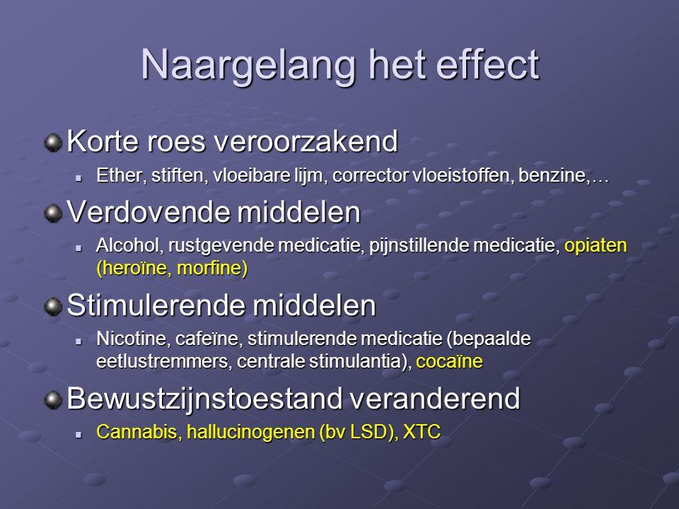Naargelang het effect Korte roes veroorzakend Ether, stiften, vloeibare lijm, corrector vloeistoffen, benzine,… Ether, stiften, vloeibare lijm, corrector vloeistoffen, benzine,… Verdovende middelen Alcohol, rustgevende medicatie, pijnstillende medicatie, opiaten (heroïne, morfine) Alcohol, rustgevende medicatie, pijnstillende medicatie, opiaten (heroïne, morfine) Stimulerende middelen Nicotine, cafeïne, stimulerende medicatie (bepaalde eetlustremmers, centrale stimulantia), cocaïne Nicotine, cafeïne, stimulerende medicatie (bepaalde eetlustremmers, centrale stimulantia), cocaïne Bewustzijnstoestand veranderend Cannabis, hallucinogenen (bv LSD), XTC Cannabis, hallucinogenen (bv LSD), XTC