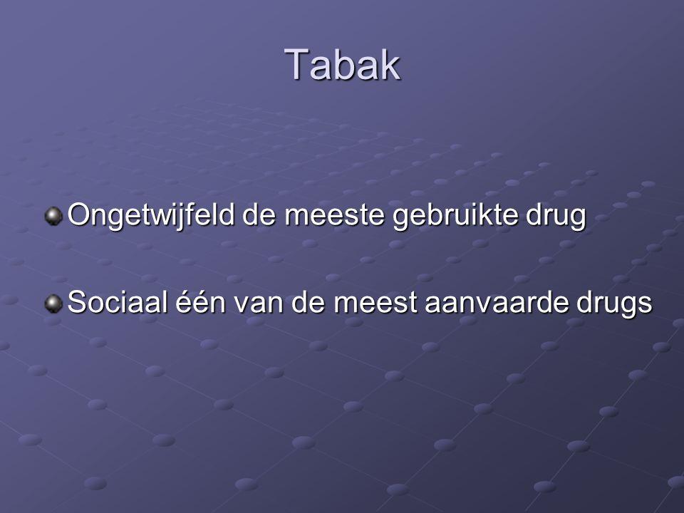 Tabak Ongetwijfeld de meeste gebruikte drug Sociaal één van de meest aanvaarde drugs