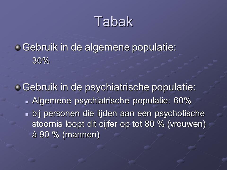 Tabak Gebruik in de algemene populatie: 30% Gebruik in de psychiatrische populatie: Algemene psychiatrische populatie: 60% Algemene psychiatrische populatie: 60% bij personen die lijden aan een psychotische stoornis loopt dit cijfer op tot 80 % (vrouwen) à 90 % (mannen) bij personen die lijden aan een psychotische stoornis loopt dit cijfer op tot 80 % (vrouwen) à 90 % (mannen)