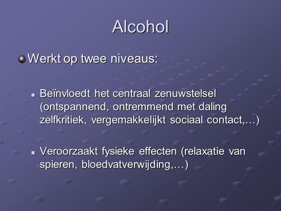 Alcohol Werkt op twee niveaus: Beïnvloedt het centraal zenuwstelsel (ontspannend, ontremmend met daling zelfkritiek, vergemakkelijkt sociaal contact,…) Beïnvloedt het centraal zenuwstelsel (ontspannend, ontremmend met daling zelfkritiek, vergemakkelijkt sociaal contact,…) Veroorzaakt fysieke effecten (relaxatie van spieren, bloedvatverwijding,…) Veroorzaakt fysieke effecten (relaxatie van spieren, bloedvatverwijding,…)