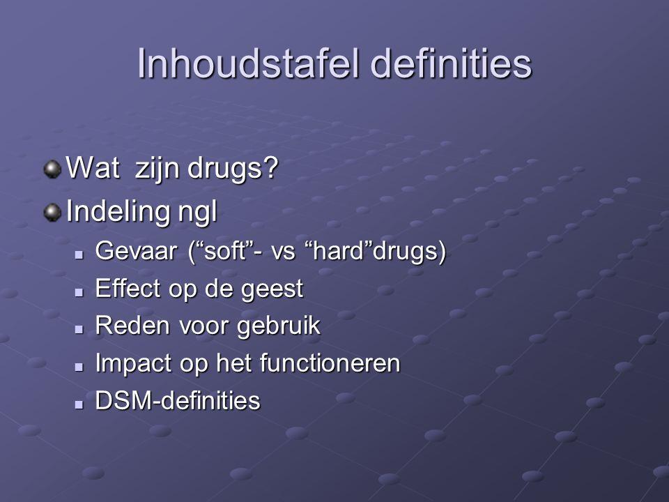Inhoudstafel definities Wat zijn drugs.