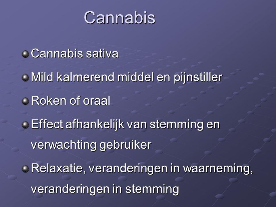 Cannabis sativa Mild kalmerend middel en pijnstiller Roken of oraal Effect afhankelijk van stemming en verwachting gebruiker Relaxatie, veranderingen in waarneming, veranderingen in stemming Cannabis