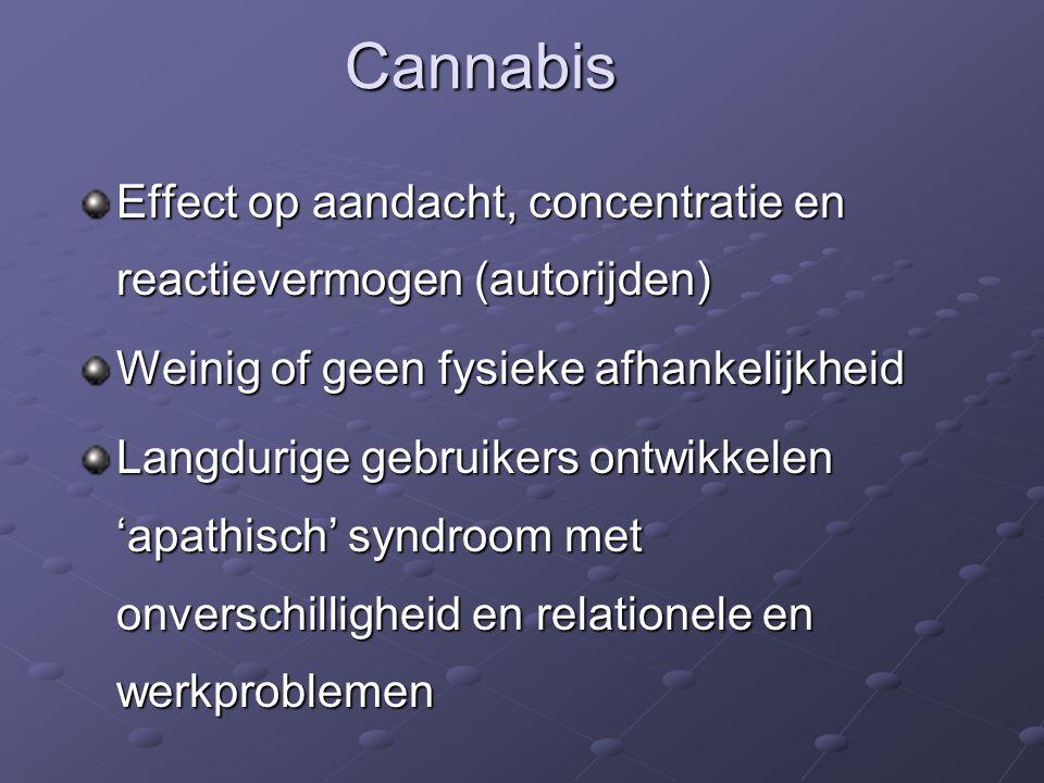 Effect op aandacht, concentratie en reactievermogen (autorijden) Weinig of geen fysieke afhankelijkheid Langdurige gebruikers ontwikkelen 'apathisch' syndroom met onverschilligheid en relationele en werkproblemen Cannabis