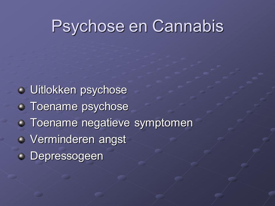 Psychose en Cannabis Uitlokken psychose Uitlokken psychose Toename psychose Toename psychose Toename negatieve symptomen Toename negatieve symptomen Verminderen angst Verminderen angst Depressogeen Depressogeen