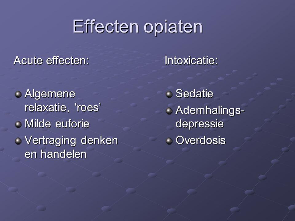Effecten opiaten Acute effecten: Algemene relaxatie, 'roes' Milde euforie Vertraging denken en handelen Intoxicatie:Sedatie Ademhalings- depressie Overdosis