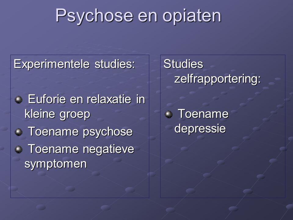 Psychose en opiaten Experimentele studies: Euforie en relaxatie in kleine groep Euforie en relaxatie in kleine groep Toename psychose Toename psychose Toename negatieve symptomen Toename negatieve symptomen Studies zelfrapportering: Toename depressie Toename depressie