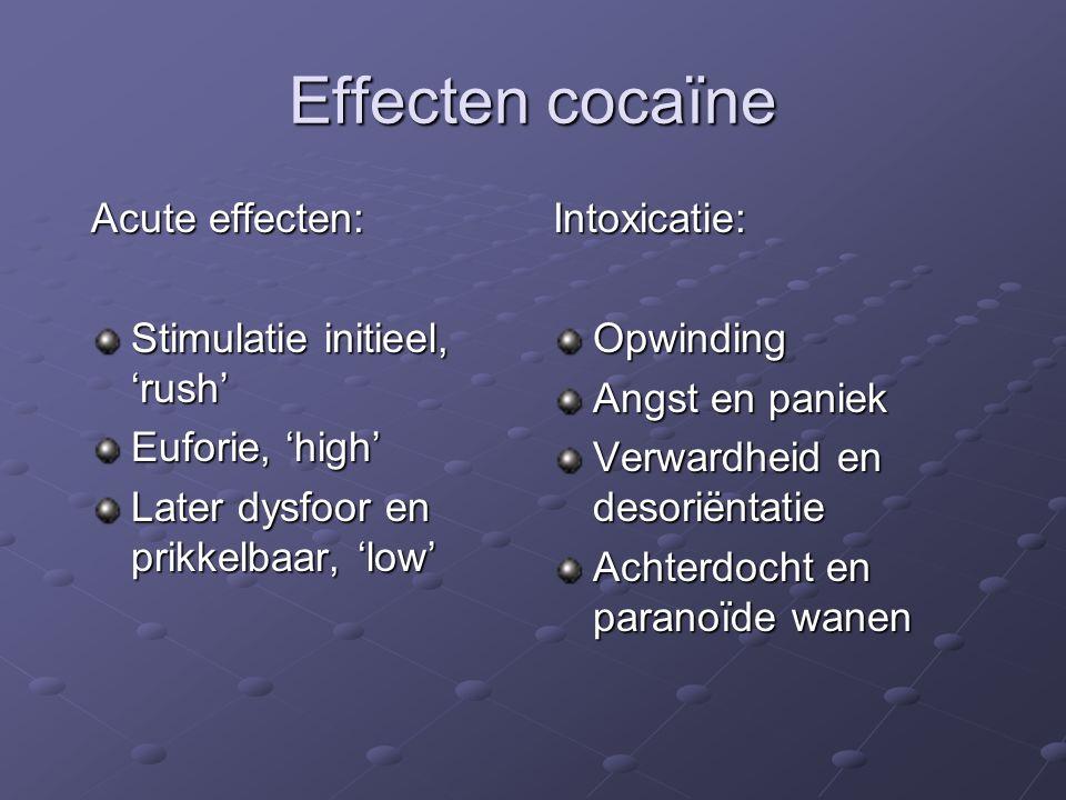 Effecten cocaïne Acute effecten: Stimulatie initieel, 'rush' Euforie, 'high' Later dysfoor en prikkelbaar, 'low' Intoxicatie:Opwinding Angst en paniek Verwardheid en desoriëntatie Achterdocht en paranoïde wanen