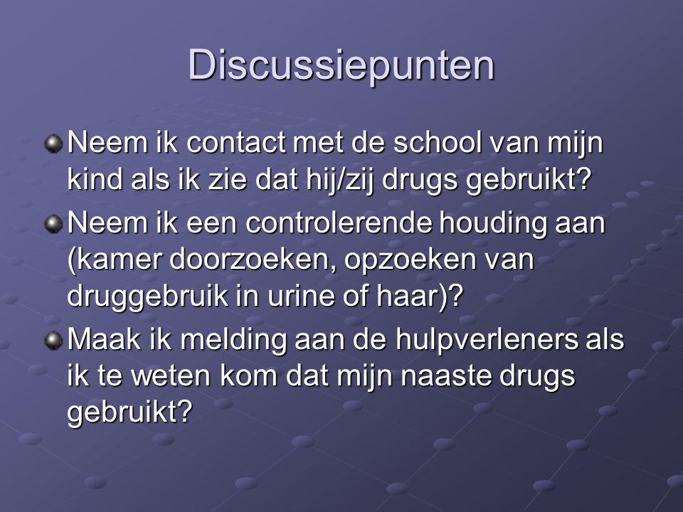 Discussiepunten Neem ik contact met de school van mijn kind als ik zie dat hij/zij drugs gebruikt.