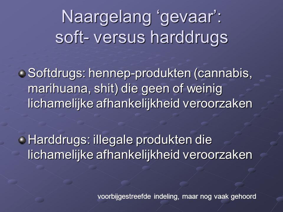 Naargelang 'gevaar': soft- versus harddrugs Softdrugs: hennep-produkten (cannabis, marihuana, shit) die geen of weinig lichamelijke afhankelijkheid veroorzaken Harddrugs: illegale produkten die lichamelijke afhankelijkheid veroorzaken voorbijgestreefde indeling, maar nog vaak gehoord
