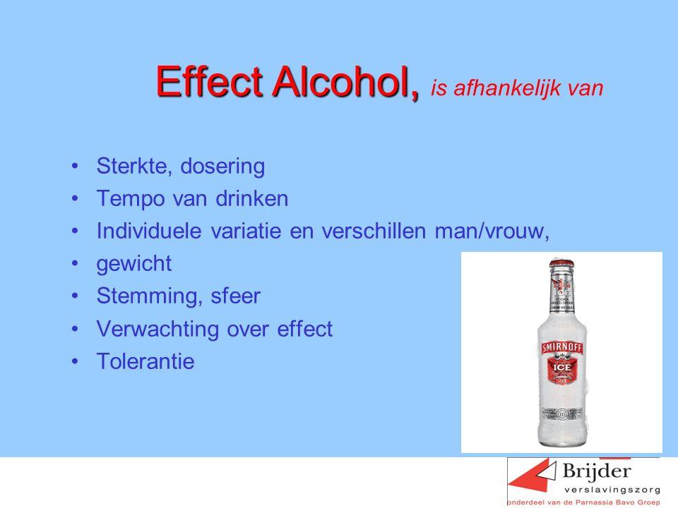 Effect Alcohol, Effect Alcohol, is afhankelijk van Sterkte, dosering Tempo van drinken Individuele variatie en verschillen man/vrouw, gewicht Stemming, sfeer Verwachting over effect Tolerantie