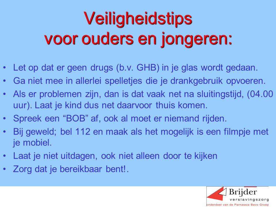 Veiligheidstips voor ouders en jongeren: Let op dat er geen drugs (b.v.