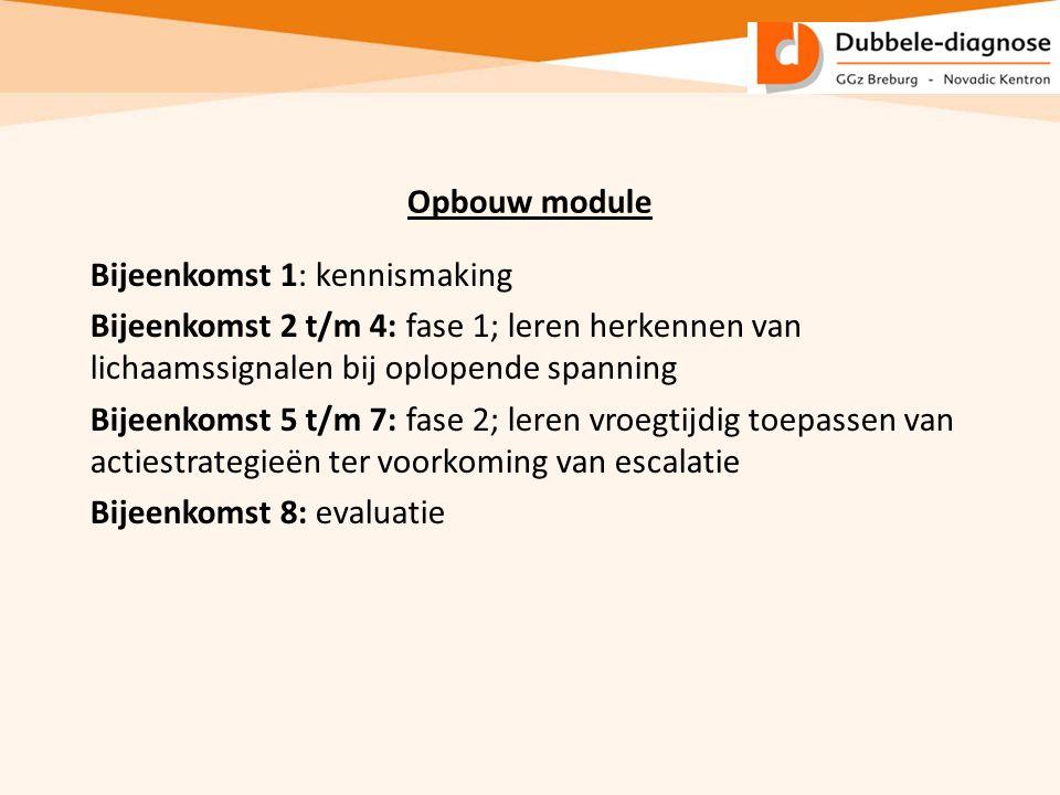 Opbouw module Bijeenkomst 1: kennismaking Bijeenkomst 2 t/m 4: fase 1; leren herkennen van lichaamssignalen bij oplopende spanning Bijeenkomst 5 t/m 7