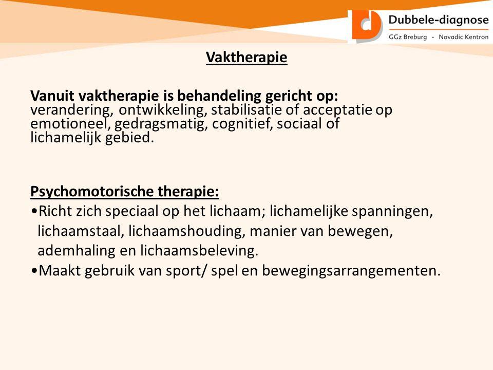 Vaktherapie Vanuit vaktherapie is behandeling gericht op: verandering, ontwikkeling, stabilisatie of acceptatie op emotioneel, gedragsmatig, cognitief
