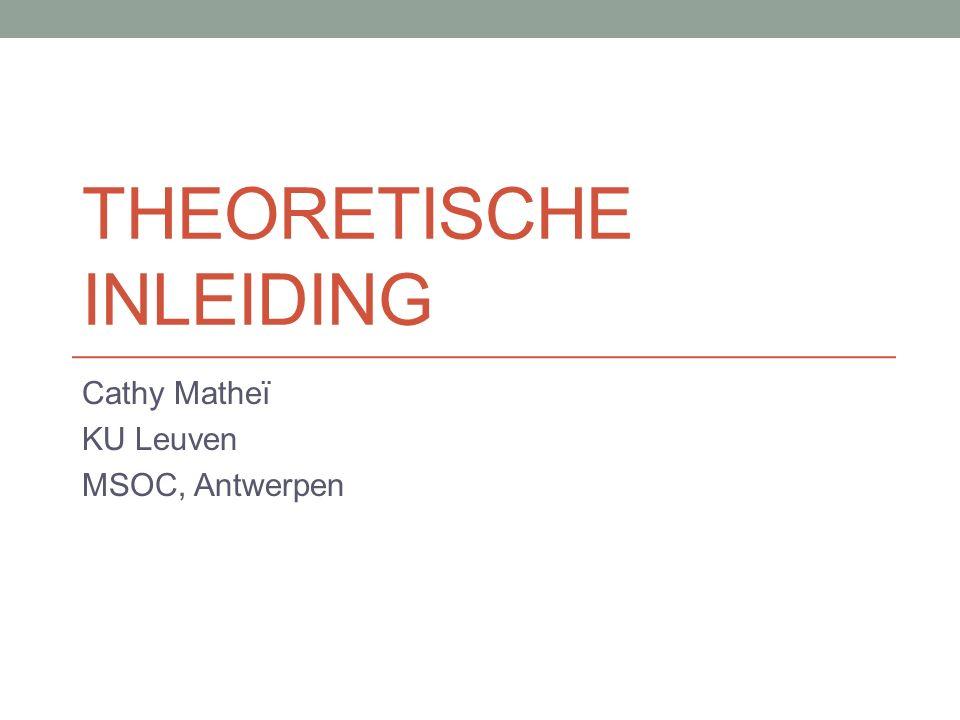 THEORETISCHE INLEIDING Cathy Matheï KU Leuven MSOC, Antwerpen