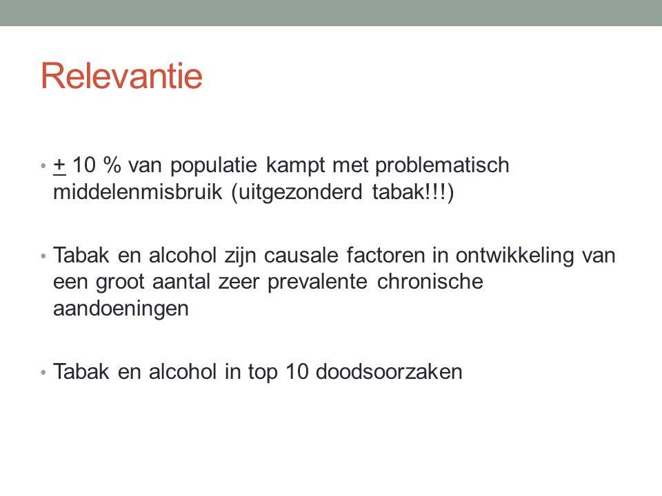 Relevantie + 10 % van populatie kampt met problematisch middelenmisbruik (uitgezonderd tabak!!!) Tabak en alcohol zijn causale factoren in ontwikkeling van een groot aantal zeer prevalente chronische aandoeningen Tabak en alcohol in top 10 doodsoorzaken