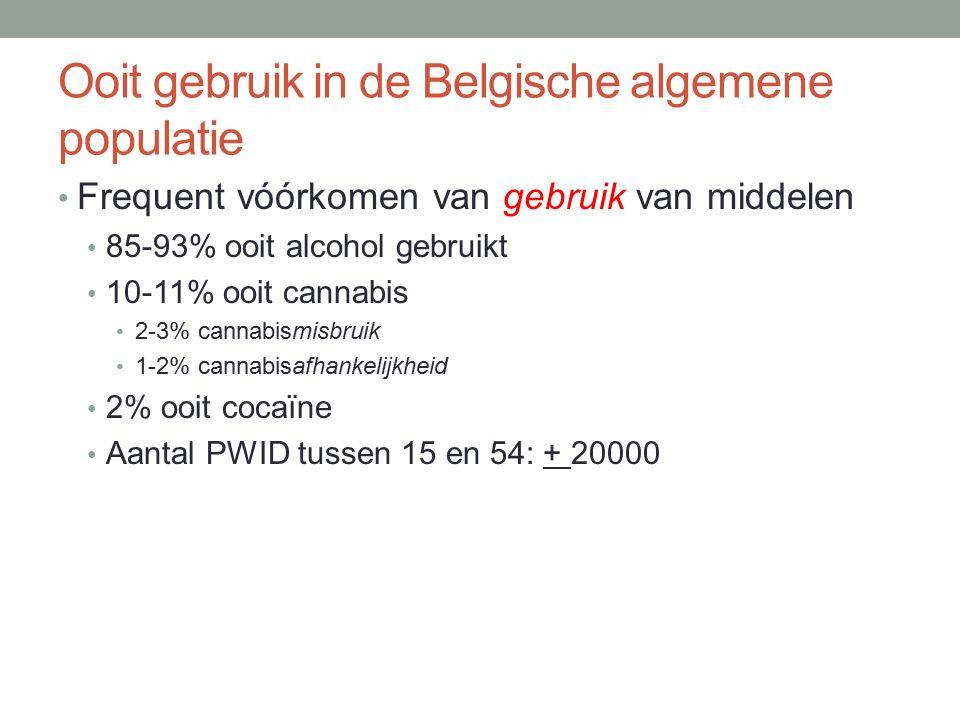 Ooit gebruik in de Belgische algemene populatie Frequent vóórkomen van gebruik van middelen 85-93% ooit alcohol gebruikt 10-11% ooit cannabis 2-3% cannabismisbruik 1-2% cannabisafhankelijkheid 2% ooit cocaïne Aantal PWID tussen 15 en 54: + 20000