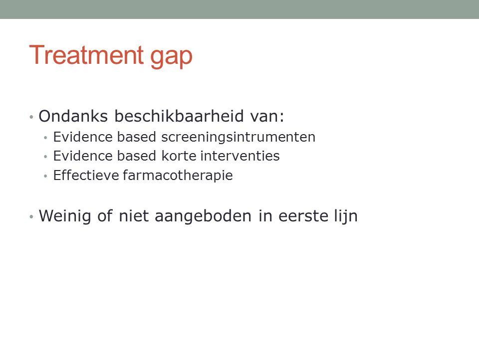 Treatment gap Ondanks beschikbaarheid van: Evidence based screeningsintrumenten Evidence based korte interventies Effectieve farmacotherapie Weinig of niet aangeboden in eerste lijn