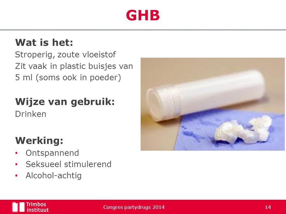 GHB Wat is het: Stroperig, zoute vloeistof Zit vaak in plastic buisjes van 5 ml (soms ook in poeder) Wijze van gebruik: Drinken Werking: Ontspannend S