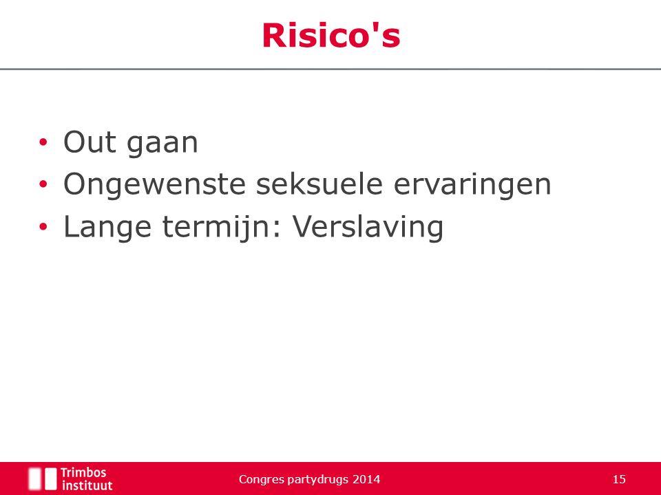 Out gaan Ongewenste seksuele ervaringen Lange termijn: Verslaving Congres partydrugs 2014 15 Risico's