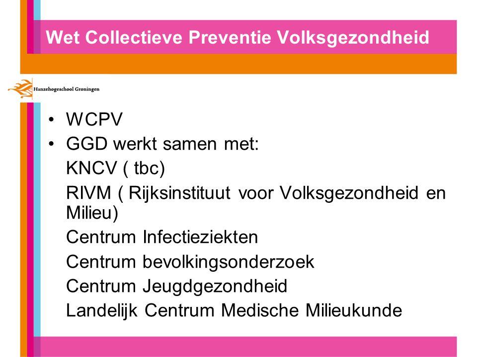 Wet Collectieve Preventie Volksgezondheid WCPV GGD werkt samen met: KNCV ( tbc) RIVM ( Rijksinstituut voor Volksgezondheid en Milieu) Centrum Infectieziekten Centrum bevolkingsonderzoek Centrum Jeugdgezondheid Landelijk Centrum Medische Milieukunde