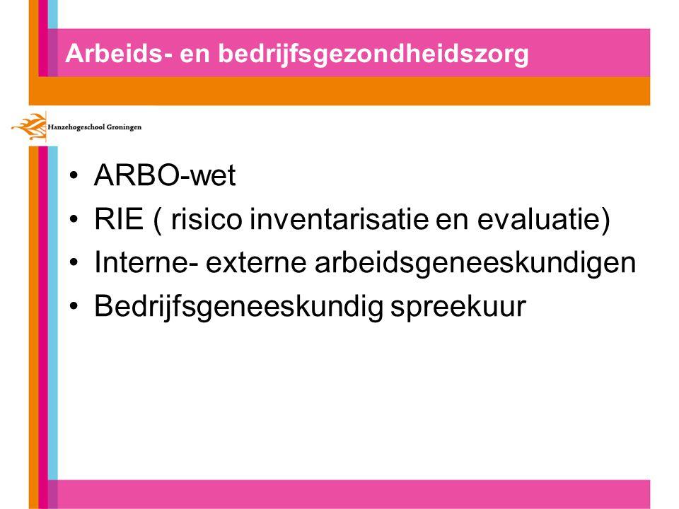 Arbeids- en bedrijfsgezondheidszorg ARBO-wet RIE ( risico inventarisatie en evaluatie) Interne- externe arbeidsgeneeskundigen Bedrijfsgeneeskundig spreekuur