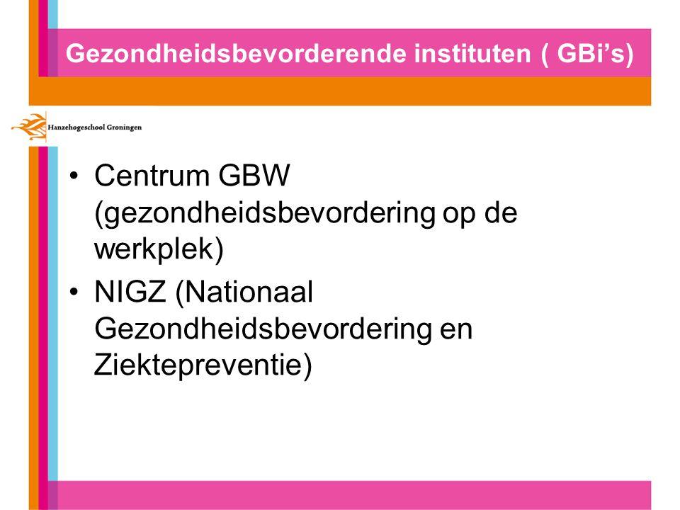 Gezondheidsbevorderende instituten ( GBi's) Centrum GBW (gezondheidsbevordering op de werkplek) NIGZ (Nationaal Gezondheidsbevordering en Ziektepreventie)