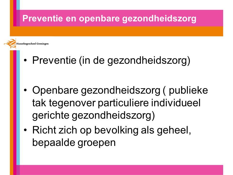 Preventie in de gezondheidszorg Preventie in stadium van aandoening: Primaire preventie (voorkoming) Secundaire preventie (vroegtijdig stadium opsporen) Tertiare preventie (voorkomen/beperken gevolgen)