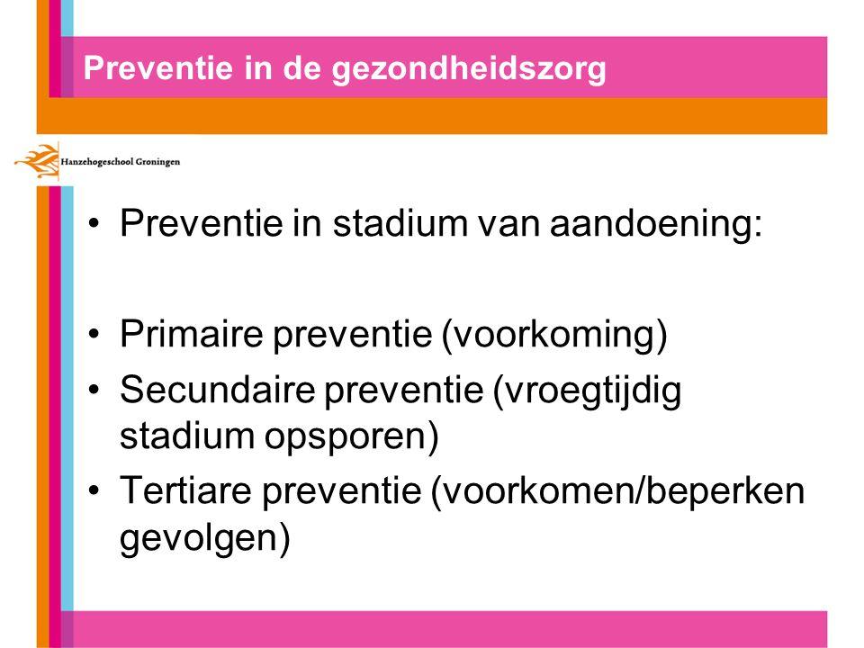 Primaire preventie Doelgroep: gezonde mensen Persoonsgericht ( medisch: vaccinaties) Collectief gericht ( gedragsverandering) GVO Gedragsfactoren: veel bewegen, weinig roken, drinken,drugs etc