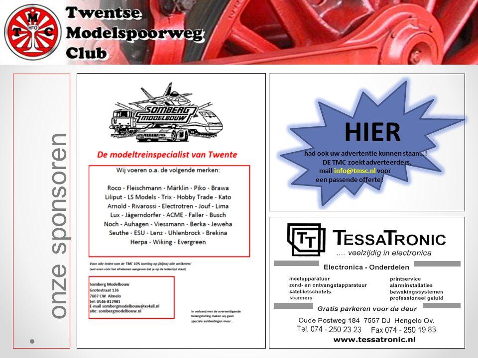 onze sponsoren HIER had ook uw advertentie kunnen staan…! DE TMC zoekt adverteerders, mail info@tmsc.nl voor een passende offerte!