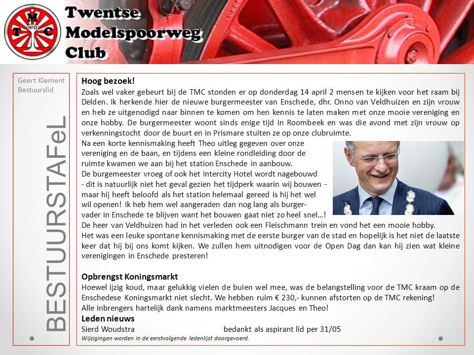 BESTUURSTAFeL Geert Klement Bestuurslid Hoog bezoek! Zoals wel vaker gebeurt bij de TMC stonden er op donderdag 14 april 2 mensen te kijken voor het r