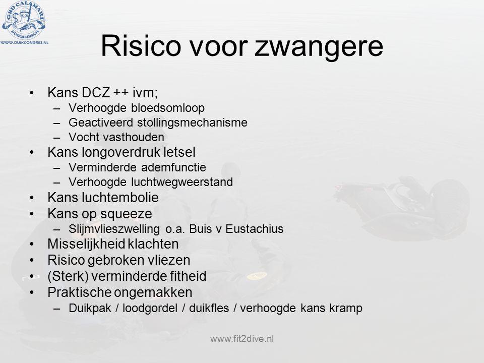 www.fit2dive.nl Risico voor zwangere Kans DCZ ++ ivm; –Verhoogde bloedsomloop –Geactiveerd stollingsmechanisme –Vocht vasthouden Kans longoverdruk letsel –Verminderde ademfunctie –Verhoogde luchtwegweerstand Kans luchtembolie Kans op squeeze –Slijmvlieszwelling o.a.