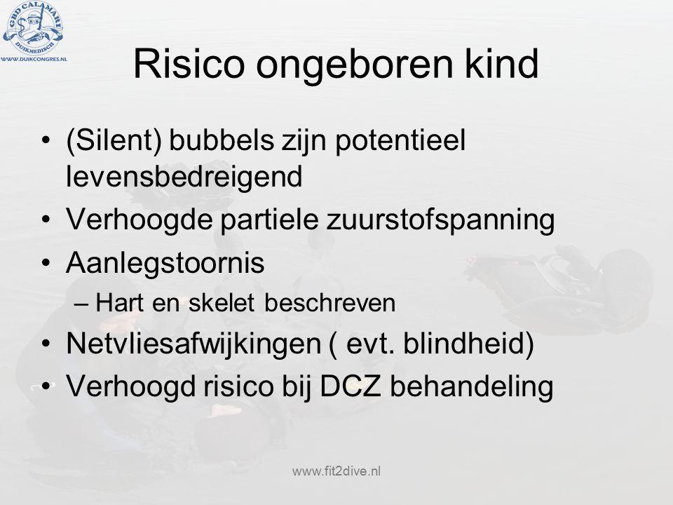 www.fit2dive.nl Risico ongeboren kind (Silent) bubbels zijn potentieel levensbedreigend Verhoogde partiele zuurstofspanning Aanlegstoornis –Hart en skelet beschreven Netvliesafwijkingen ( evt.