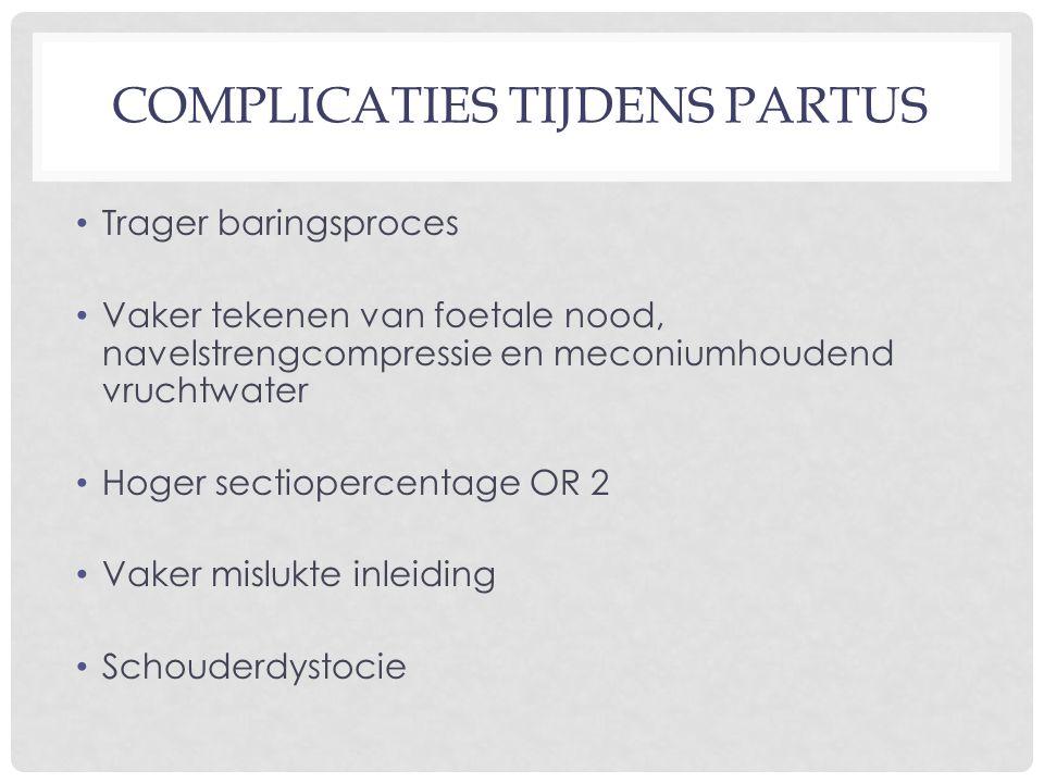 COMPLICATIES TIJDENS PARTUS Trager baringsproces Vaker tekenen van foetale nood, navelstrengcompressie en meconiumhoudend vruchtwater Hoger sectioperc