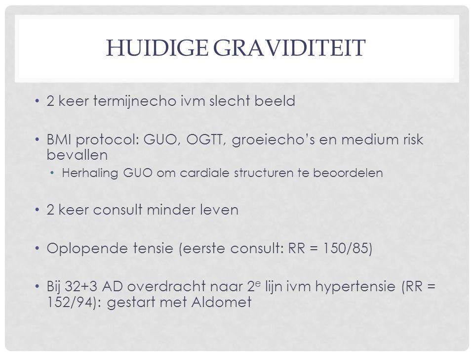 HUIDIGE GRAVIDITEIT 2 keer termijnecho ivm slecht beeld BMI protocol: GUO, OGTT, groeiecho's en medium risk bevallen Herhaling GUO om cardiale structuren te beoordelen 2 keer consult minder leven Oplopende tensie (eerste consult: RR = 150/85) Bij 32+3 AD overdracht naar 2 e lijn ivm hypertensie (RR = 152/94): gestart met Aldomet