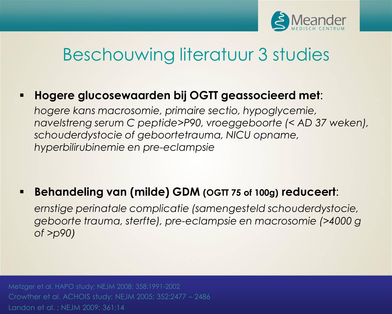 Beschouwing literatuur 3 studies  Hogere glucosewaarden bij OGTT geassocieerd met : hogere kans macrosomie, primaire sectio, hypoglycemie, navelstren