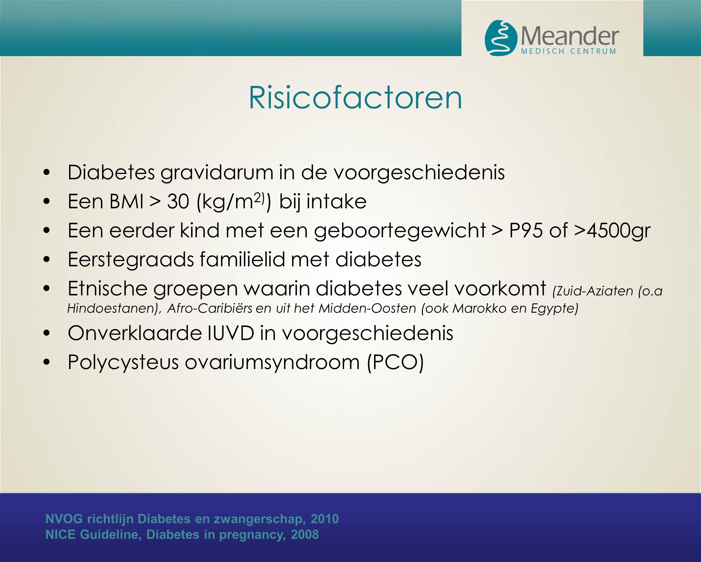 Risicofactoren Diabetes gravidarum in de voorgeschiedenis Een BMI > 30 (kg/m 2) ) bij intake Een eerder kind met een geboortegewicht > P95 of >4500gr