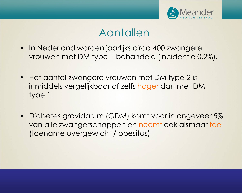 In Nederland worden jaarlijks circa 400 zwangere vrouwen met DM type 1 behandeld (incidentie 0.2%). Het aantal zwangere vrouwen met DM type 2 is inmid