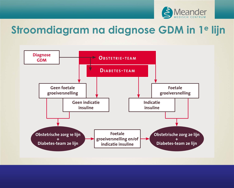 Stroomdiagram na diagnose GDM in 1 e lijn