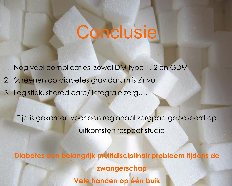 Conclusie 1.Nog veel complicaties, zowel DM type 1, 2 en GDM 2.Screenen op diabetes gravidarum is zinvol 3.Logistiek, shared care/ integrale zorg…. Ti