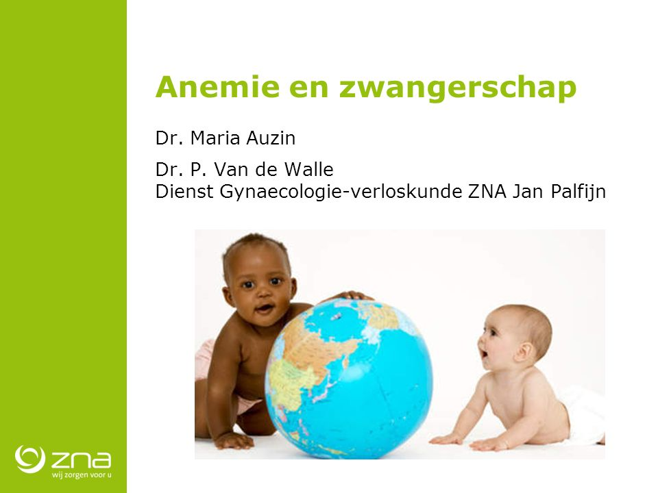 Anemie en zwangerschap Dr. Maria Auzin Dr. P. Van de Walle Dienst Gynaecologie-verloskunde ZNA Jan Palfijn