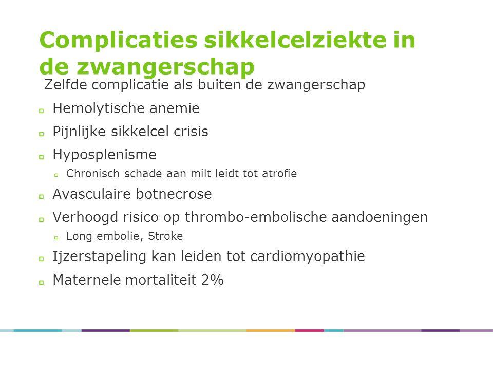 Complicaties sikkelcelziekte in de zwangerschap Zelfde complicatie als buiten de zwangerschap Hemolytische anemie Pijnlijke sikkelcel crisis Hyposplen