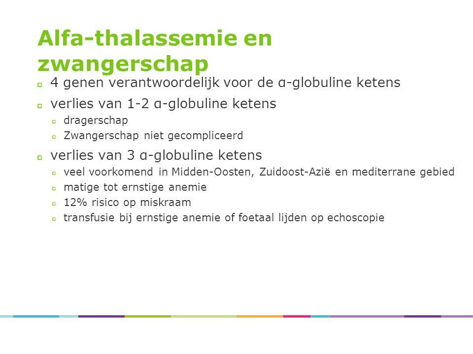 Alfa-thalassemie en zwangerschap 4 genen verantwoordelijk voor de α-globuline ketens verlies van 1-2 α-globuline ketens dragerschap Zwangerschap niet